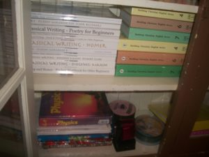 Homeschool Books in an Old Cabinet - Farmhouse