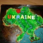 Ukraine unit study.  A decorated cookie cake.