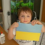 Ukraine Unit Study.  We make or color a flag for each country we study.
