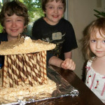 Ancient Greece study.  Attempting to make the Parthenon out of Rice Krispie Treats