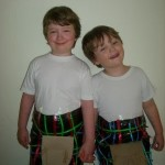 Unit Study on Scotland.  We made kilts out of a few things in the house.