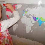 Introduction to World Cultures study.  She colors in a country before she watches a video about it.